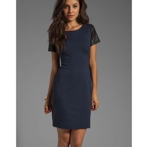 Theory Pryor Ponti Leather Combo Dress